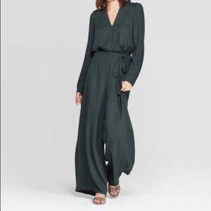NWT dark green wide leg jumpsuit